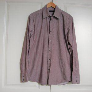 Hugo Boss Regular Fit Burgundy Striped Long Sleeve Button Up Mens Shirt